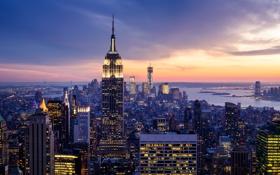 Обои закат, огни, побережье, дома, Нью-Йорк, небоскребы, залив
