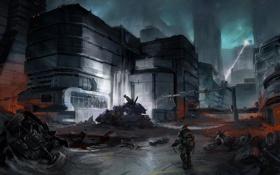 Картинка город, оружие, корабль, луч, воин, арт, мужчина
