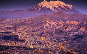 Обои Landscape, Mountain, Sunset, Smoke, South America, Cities, La Paz