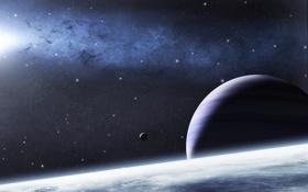 Обои атмосфера, звезды, спутник, планеты, поверхность