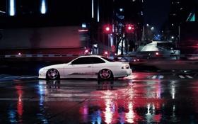 Обои ночь, город, тюнинг, купе, лексус, stance, lexus sc 400