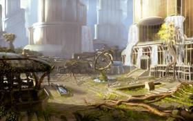 Картинка город, корни, парк, заросли, арт, фонтан, водопады