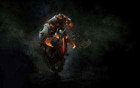 Картинка лошадь, доспехи, арт, герой, наездник, щит, дота