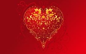 Обои красный, сердце, золотой, день святого валентина, 14 февраля, праздник всех влюблённых, St. Valentine