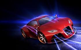 Обои машина, порш, красная, наверно
