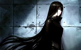 Обои девушка, стена, аниме, арт, профиль, asuka111