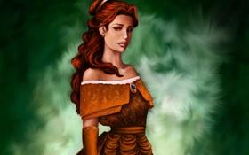 Обои грусть, взгляд, платье, прическа, Belle, Красавица и Чудовище