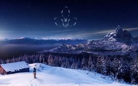 Обои снег, горы, дом, звёзды, мальчик, эмблема, ёлки
