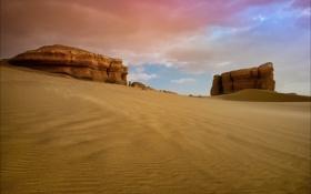 Картинка песок, облака, пустыня, скалы, небо