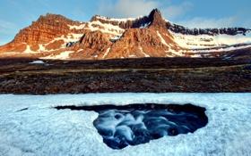 Обои снег, природа, река, гора