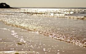 Картинка песок, море, волны, солнце, блики, побережье