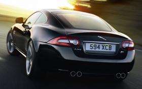 Картинка дорога, свет, купе, ягуар, вид сзади, jaguar, coupe