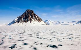 Картинка холод, лед, море, вода, снег, гора, пик