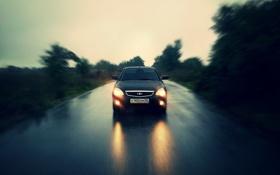 Обои дорога, машина, авто, дождь, Lada, auto, Лада