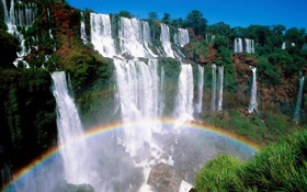 Картинка водопад, радуга, улыбка природы