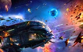 Обои космос, выстрелы, корабли, битва