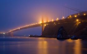Картинка мост, огни, туман, Сан-Франциско, сумерки