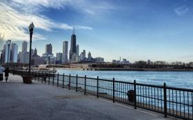 Обои Чикаго, Небоскребы, Здания, Парк, Америка, Chicago, America