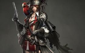 Обои девушка, арт, попугай, плащ, револьвер, пиратка, Atlantica Online