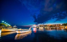 Обои ночь, город, бухта, лодки