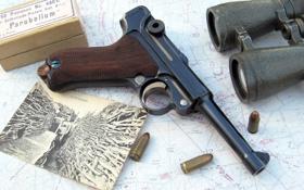 Обои фото, пистолет, карта, бинокль, патроны, Парабеллум, P08