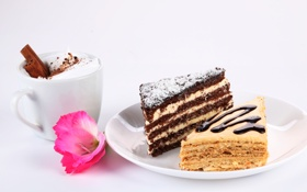 Обои цветок, торт, кусочки, пирожное, корица, капучино, крем
