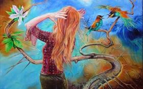 Обои цветок, листья, девушка, птицы, полотно, рисунок, ветка