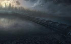 Картинка дорога, мост, город, туман, река, туннель, дымка