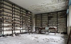 Картинка abandoned, library, decay