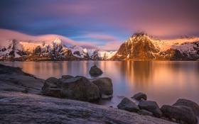 Обои sunset, mountain, island, norway, lofoten