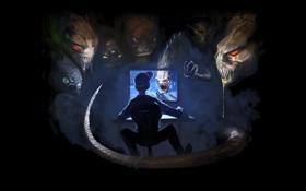 Картинка реальность, геймер, комп, шутер, монстры