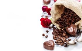Обои фото, Шоколад, Зерна, Кофе, Конфеты, Розы, Еда