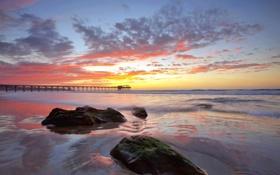 Картинка море, небо, облака, закат, Калифорния, пирс, США