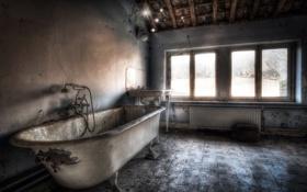 Обои окно, ванна, комната