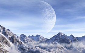 Обои горы, холод, планета, снег, вершины