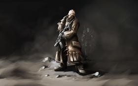 Картинка туман, человек, арт, солдат, нож, автомат, дымка