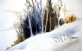 Обои акварель, пейзаж, картина