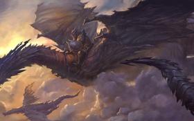 Обои полет, драконы, фэнтези, арт, всадник, в небе, доспех