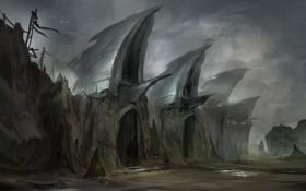 Обои небо, тучи, скалы, арт, badland gates, by yobarte