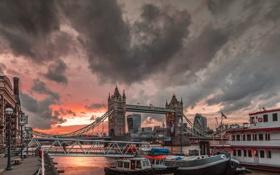 Обои небо, город, река, Тауэрский мост, Tower Bridge, London, England