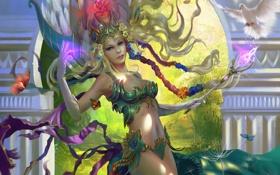 Обои девушка, птица, фэнтези, арт, жезл, Legend of the Cryptids