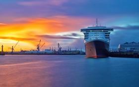 Обои море, рассвет, корабль, здания, порт, судно, акватория