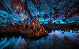 Картинка Still Water, Reed Flute Cave, China, Reflections, Guilin