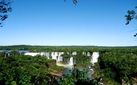 Картинка зелень, деревья, брызги, листва, водопад, Катаратас дель Игуасу