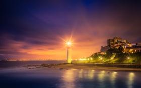 Обои city, lights, beach, sea, ocean, night, hotel