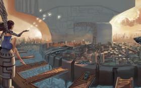 Картинка девушка, город, транспорт, робот, крылья, корабли, арт