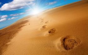 Обои песок, солнце, облака, пейзаж, природа, дюны, landscape