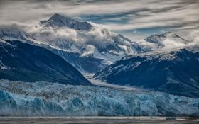 Обои ледник, облака, небо, природа, горы, снег