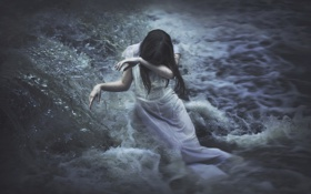 Обои вода, девушка, река