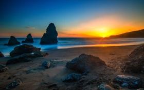 Картинка пляж, берег, рассвет, скалы, волны, море